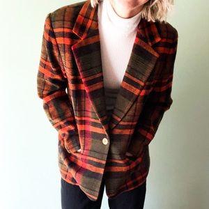 Vintage Joan Leslie Orange Boyfriend Blazer Sz 14P